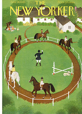 Race Horse Painting - New Yorker June 18th, 1949 by Edna Eicke