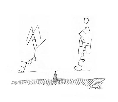 Doubting Drawing - New Yorker June 18th, 1960 by Saul Steinberg