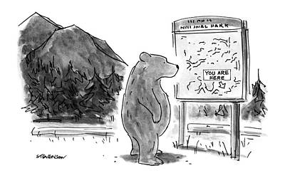 National Parks Drawing - New Yorker June 18th, 1990 by James Stevenson