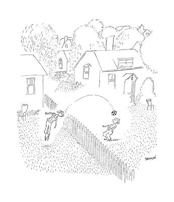 Fence Drawing - New Yorker June 19th, 2006 by Jean-Jacques Sempe