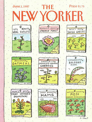 Pizza Painting - New Yorker June 1st, 1987 by Roz Chast