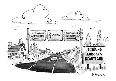 Heartland Drawing - New Yorker June 1st, 1992 by Dana Fradon