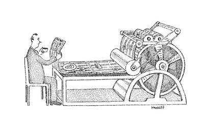 Breakfast Drawing - New Yorker June 20th, 1977 by Robert Mankoff