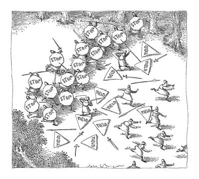 Medieval Battle Drawing - New Yorker June 21st, 1999 by John O'Brien