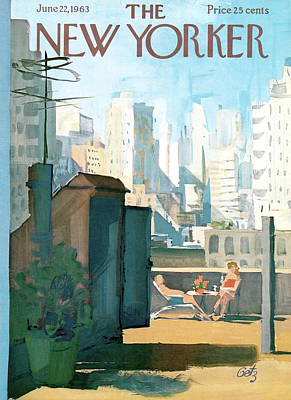 Rooftops Painting - New Yorker June 22nd, 1963 by Arthur Getz