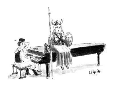 Operatic Drawing - New Yorker June 22nd, 1987 by Warren Miller
