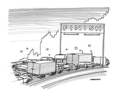 Traffic Drawing - New Yorker June 23rd, 1986 by Mick Stevens