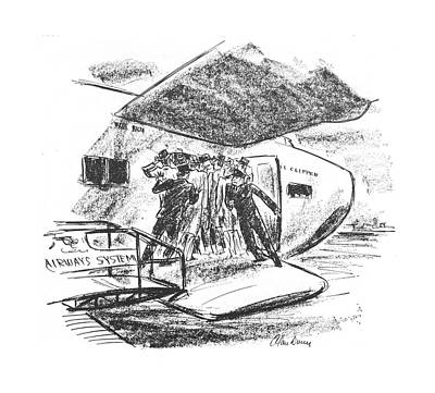 Airways Drawing - New Yorker June 26th, 1943 by Alan Dunn