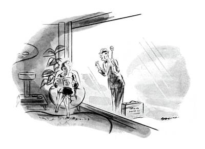 Glass Drawing - New Yorker June 26th, 1948 by Leonard Dove