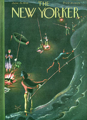 Catch Painting - New Yorker June 26th, 1948 by Roger Duvoisin