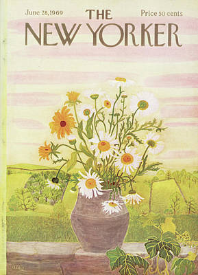 Floral Arrangement Painting - New Yorker June 28th, 1969 by Ilonka Karasz