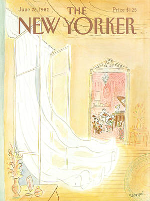 Curtain Painting - New Yorker June 28th, 1982 by Jean-Jacques Sempe