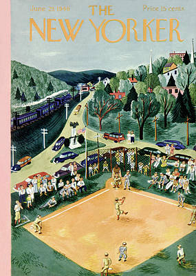Baseball Parks Painting - New Yorker June 29th, 1946 by Ilonka Karasz