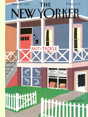 Picket Fence Painting - New Yorker June 29th, 1987 by Marisabina Russo
