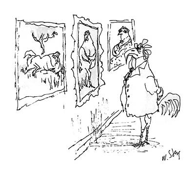 Rooster Drawing - New Yorker June 29th, 1987 by William Steig