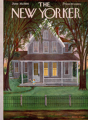 Suburbs Painting - New Yorker June 30th, 1956 by Edna Eicke