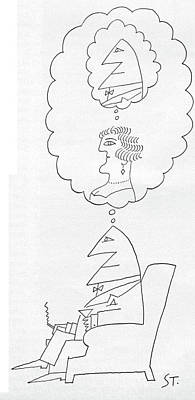 Mental Drawing - New Yorker June 30th, 1962 by Saul Steinberg