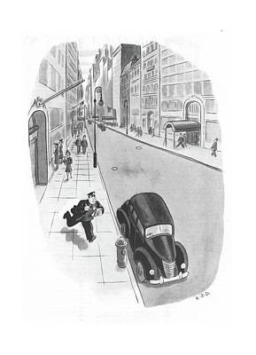 Street Car Drawing - New Yorker June 3rd, 1944 by Robert J. Day