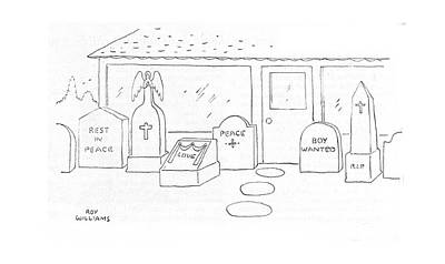 Headstones Drawing - New Yorker June 3rd, 1944 by Roy Williams
