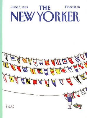 Clothesline Painting - New Yorker June 3rd, 1985 by Arnie Levin