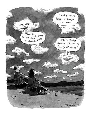 Gazing Drawing - New Yorker June 3rd, 1991 by Danny Shanahan