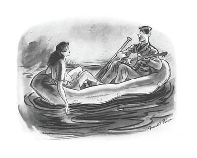 Canoe Drawing - New Yorker June 6th, 1942 by Garrett Price