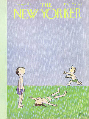 Rain Painting - New Yorker June 6th, 1959 by William Steig