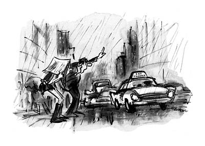 Downpour Drawing - New Yorker June 6th, 1970 by Lee Lorenz