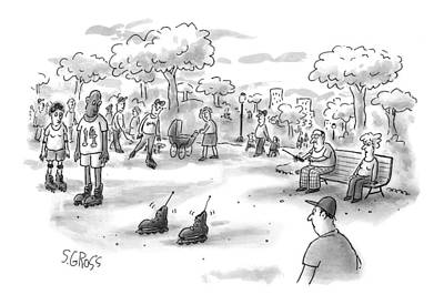 Park Benches Drawing - New Yorker June 7th, 1999 by Sam Gross
