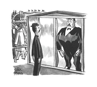 Mirror Drawing - New Yorker June 8th, 1940 by Peter Arno