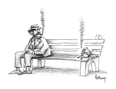 Bench Drawing - New Yorker June 8th, 1987 by Anthony Taber