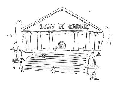 Courthouse Drawing - New Yorker June 8th, 1987 by Arnie Levin