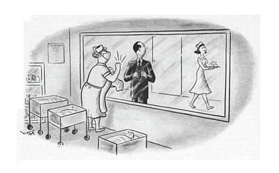 Nurse Shark Drawing - New Yorker June 9th, 1951 by Sydney Hoff