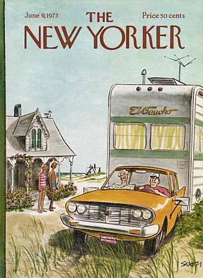 Hamptons Painting - New Yorker June 9th, 1973 by Charles Saxon