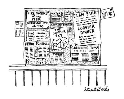 Fireworks Drawing - New Yorker June 9th, 1986 by Stuart Leeds