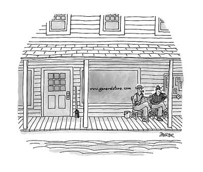 Country Store Drawing - New Yorker June 9th, 1997 by Jack Ziegler