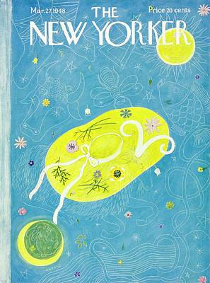 Painting - New Yorker Magazine Cover Of A Floral Hat by Ilonka Karasz