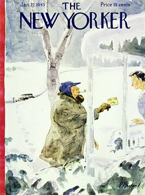 Winter Scene Painting - New Yorker Magazine Cover Of A Man Delivering by Perry Barlow