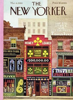 Shops Painting - New Yorker March 6 1948 by Witold Gordon