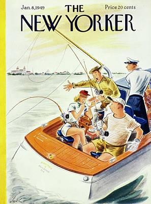 Watercraft Painting - New Yorker January 8, 1949 by Constantin Alajalov