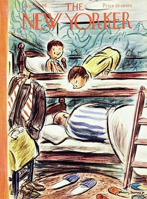 Sleep In Painting - New Yorker Magazine Cover Of Boys Watching by Whitney Darrow