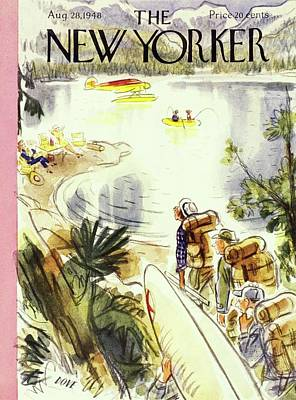 Plane Painting - New Yorker Magazine Cover Of Campers by Leonard Dove