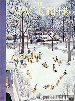 Winter Landscape Painting - New Yorker Magazine Cover Of Children Sleigh by Charles Martin