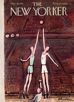Basketball Players Painting - New Yorker March 10th, 1951 by Abe Birnbaum