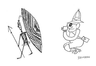 Native Drawing - New Yorker March 10th, 1956 by Saul Steinberg
