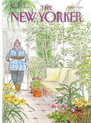 Winter Painting - New Yorker March 11th, 1985 by Charles Saxon