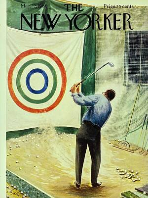 Golf Art Painting - New Yorker March 12th 1960 by Constantin Alajalov