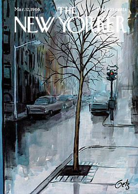 Weathered Painting - New Yorker March 12th, 1966 by Arthur Getz