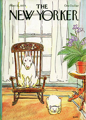 Sitting Painting - New Yorker March 12th, 1979 by George Booth