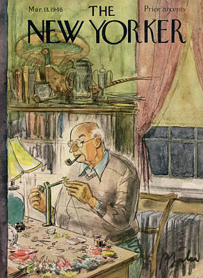 Thread Painting - New Yorker March 13th, 1948 by Perry Barlow